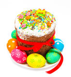Decorated easter cake and eggs isolated Stock Photography