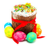 Decorated easter cake and eggs isolated Royalty Free Stock Photography