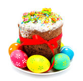 Decorated easter cake and eggs isolated Royalty Free Stock Photos
