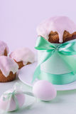 Decorated easter cake and eggs Royalty Free Stock Photos