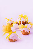 Decorated easter cakes and eggs  in yellow colors. Selective focus Royalty Free Stock Photography