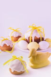 Decorated easter cakes and eggs. Stock Photos