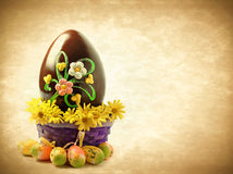 Decorated Easter chocolate egg Stock Photos