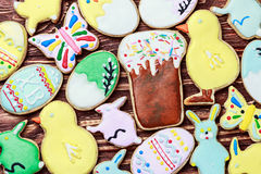 Decorated Easter cookies Royalty Free Stock Photos