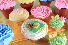 Decorated Easter cupcakes Royalty Free Stock Images