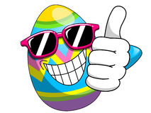 Decorated easter egg cartoon sunglasses thumb up isolated Royalty Free Stock Photos
