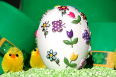 Decorated Easter egg and chicks Royalty Free Stock Image