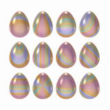 Decorated Easter egg set with clipping path Stock Photos