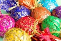 Decorated Easter eggs. Background of multi-colored Easter eggs. Selective focus on individual eggs Stock Images