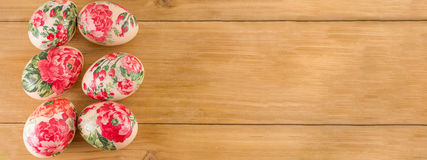 Decorated Easter eggs banner Stock Photos