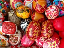 Decorated Easter eggs. A basket of decorated Easter eggs Royalty Free Stock Photography