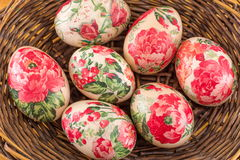 Decorated Easter eggs in a basket close up Royalty Free Stock Photo