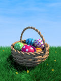 Easter Eggs In A Basket. Decorated easter eggs in a basket with copy space (3D render Stock Photo
