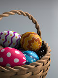 Easter Eggs In A Basket. Decorated easter eggs in a basket (3D render Stock Photo