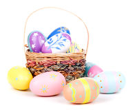 Decorated Easter Eggs and Basket Stock Image
