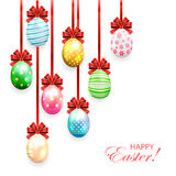 Decorated Easter eggs with bow Stock Photography