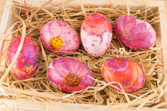 Decorated Easter eggs in a box Royalty Free Stock Photography