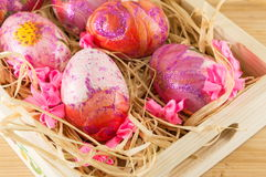 Decorated Easter eggs in a box Stock Image