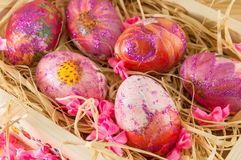 Decorated Easter eggs in a box Stock Photography
