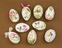 Decorated Easter eggs on the brown paper Royalty Free Stock Photos