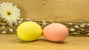 Decorated Easter eggs with daffodils Royalty Free Stock Photography