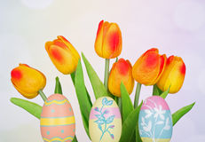 Decorated Easter Eggs and Flowers Stock Image