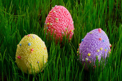 Decorated Easter eggs in the grass Stock Photo
