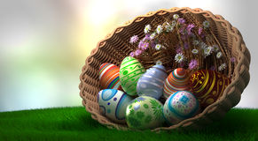 Decorated Easter eggs on the grass in basket Royalty Free Stock Photo