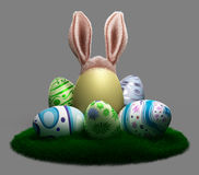 Decorated Easter eggs on the grass Stock Photos