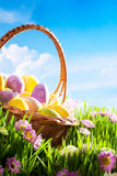 Decorated easter eggs in grass flowers Stock Photo