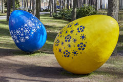 Decorated easter eggs in the grass, public area. Extremely big easter eggs. Jurmala, Latvia. 23 april 2016 Stock Photos