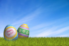 Decorated Easter eggs in the grass under a blue sky Stock Images
