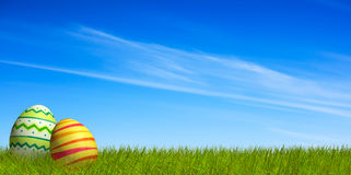 Decorated Easter eggs in the grass under a blue sky Stock Image