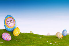 Decorated Easter eggs in a grassy hilly landscape. Decorated Easter eggs lying in the grass in a hilly landscape Stock Images
