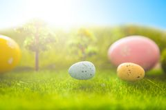 Decorated easter eggs in green grass on sunset sky background. Decorated easter eggs in green grass on a sunset sky background Royalty Free Stock Photography