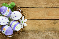 Decorated Easter eggs in nest Stock Photography