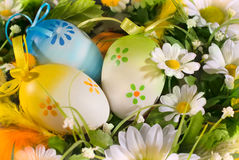 Decorated Easter eggs and Spring flowers  Royalty Free Stock Image