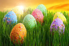 Decorated Easter eggs at sunset Stock Image