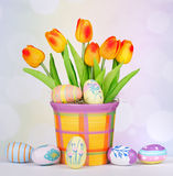 Decorated Easter Eggs and Tulips Royalty Free Stock Images