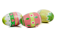 Decorated easter eggs on white Royalty Free Stock Photography