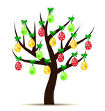 Decorated Easter eggs (yellow, red and green) hanging on tree  on white background. Illustration of dyed Easter eggs (yellow, red and green, decorated with Royalty Free Stock Images
