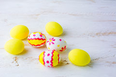 Decorated Easter white pink red yellow eggs Royalty Free Stock Photo