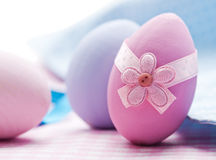 Decorated Easter wooden eggs Stock Images