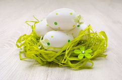 Decorated eatser egs in  straw nest Stock Image