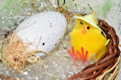 Decorated egg with chick Stock Photos