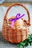 Decorated egg in a wicker basket Royalty Free Stock Photography