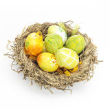 Decorated eggs for Easter in a nest Royalty Free Stock Photography