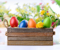 Decorated eggs and flowers Royalty Free Stock Photo