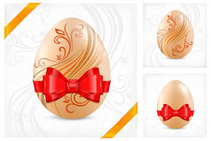 Decorated eggs with ribbon Royalty Free Stock Photography