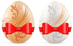 Decorated eggs with ribbon on white Royalty Free Stock Photos